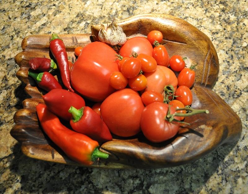 Peperoni und nachgereifte Tomaten gibt es als Rohkostbeilage. Zu Spaghetti schmeckt eine italiensiche Aglio und Oilo-Sauce.