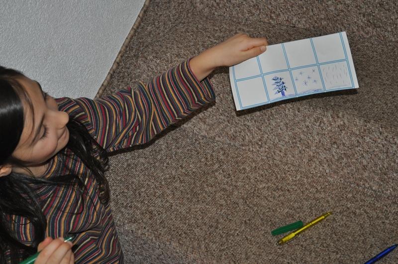 """Mit Kugelschreiber auf dem Teppichboden kreierte meine Tochter ihre Motive. """"Auf dem Teppich mit Kugelschreiber zu zeichnen ist schwierig und kann Löcher im Papier verursachen."""" Naja, es geschah nichts der Gleichen."""